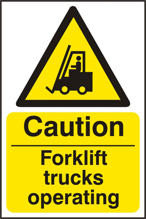 CAUTION FORKLIFT TRUCKS OPERATING SIGN - BSS11132