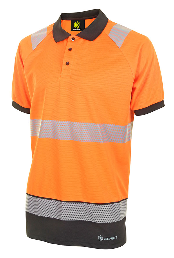HIVIS TWO TONE POLO SHIRT SHORT SLEEVE - HVTT010ORBL